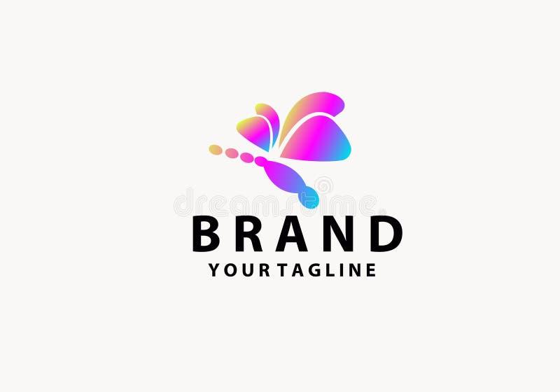 Libelle mit abstrakter Farbe Logo Symbol lizenzfreie abbildung