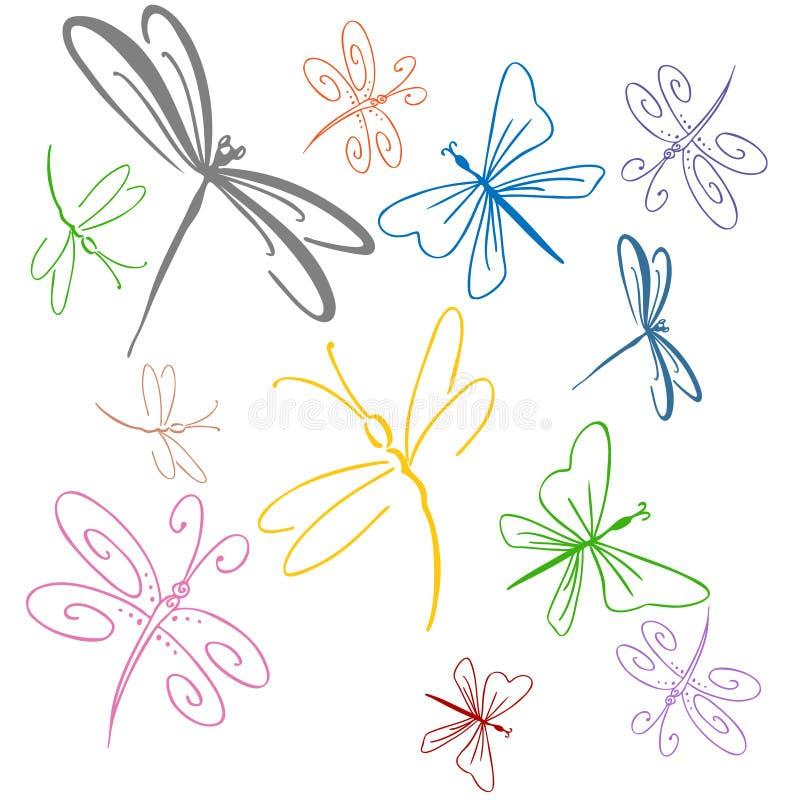 Libelle-Set stock abbildung