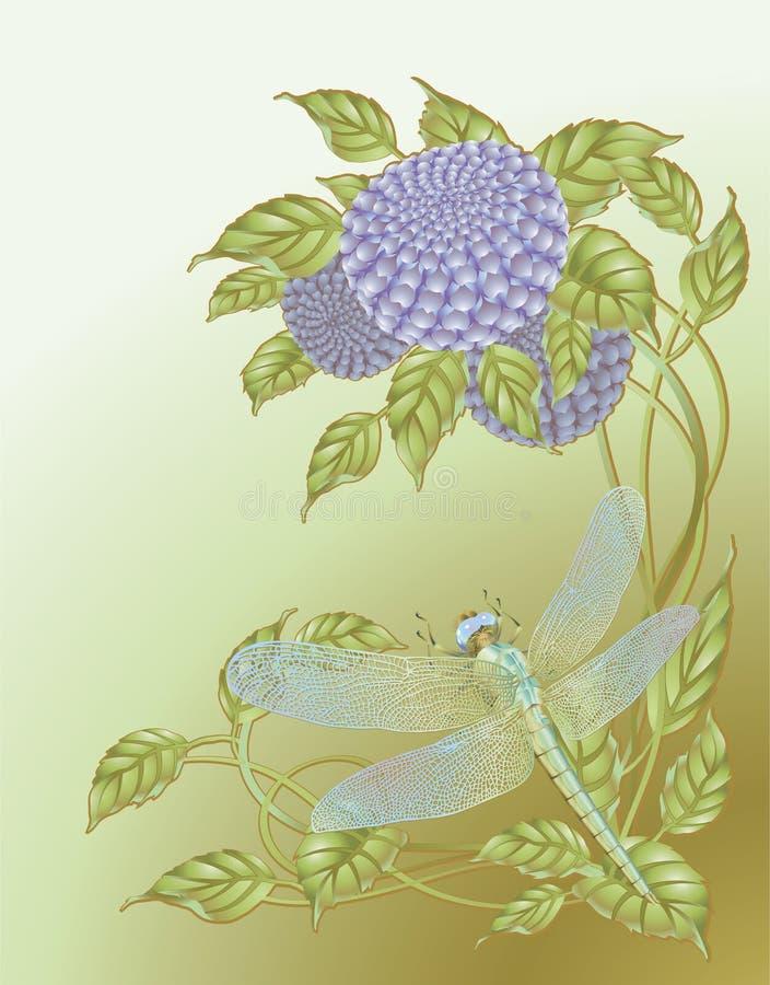 Libelle und Blumen vektor abbildung