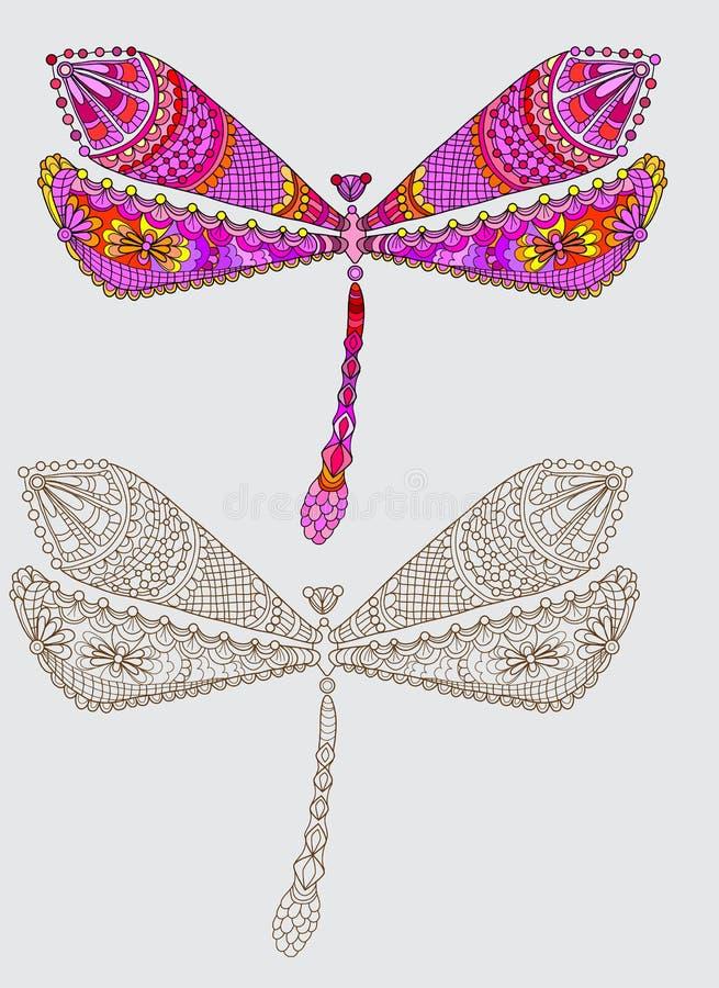 Libelle zwei mit eindeutigem Muster vektor abbildung