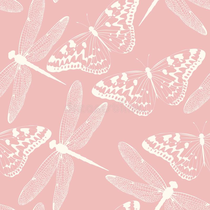 Libellen en vlinders naadloze achtergrond royalty-vrije illustratie
