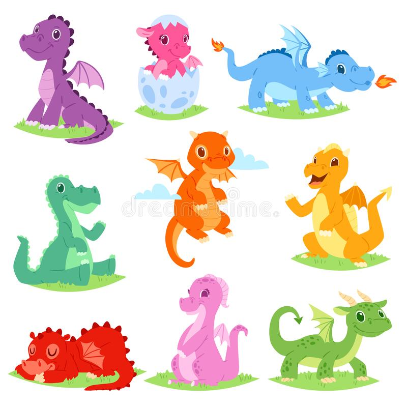 Libellen- oder Babydinosaurierillustrationssatz des Karikaturdrachevektors netter Dino-Charaktere von den Kindermärchen lizenzfreie abbildung
