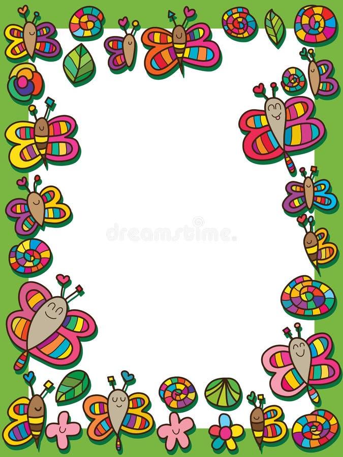 Libellenschmetterlingsbienen-Schneckenblumen-Blattrahmen lizenzfreie abbildung