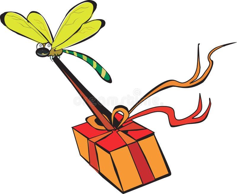 Libellula che trasporta un regalo illustrazione di stock
