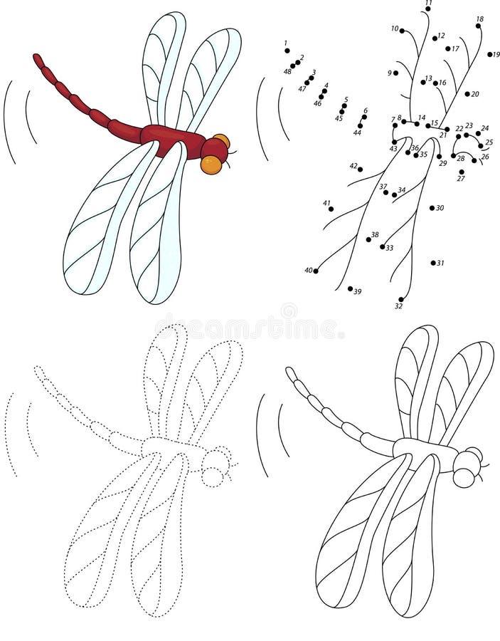 Libellula di rosso del fumetto royalty illustrazione gratis