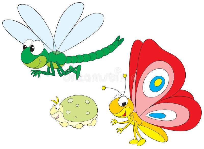 Libellula, greenfly e farfalla illustrazione vettoriale