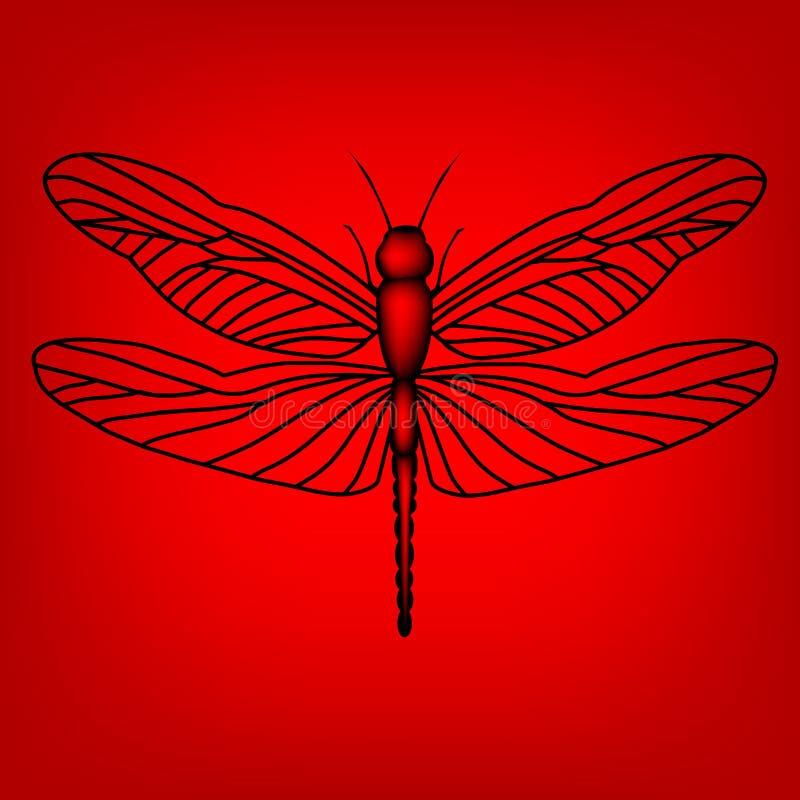 Libellula nel colore rosso illustrazione vettoriale