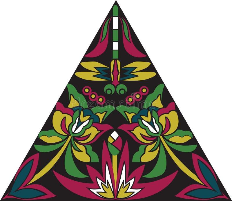 Libellula tradizionale cinese orientale del fiore del triangolo del modello immagini stock