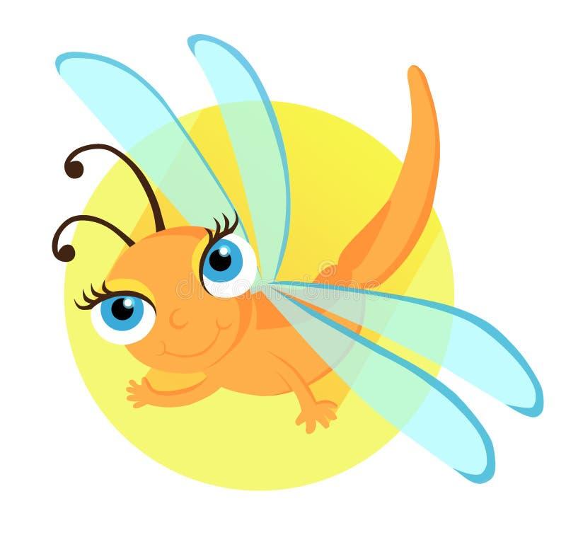 Libellule de bande dessinée de figure, dans le style de vecteur, libellule orange, volant dans la perspective du cercle bleu, cop illustration libre de droits