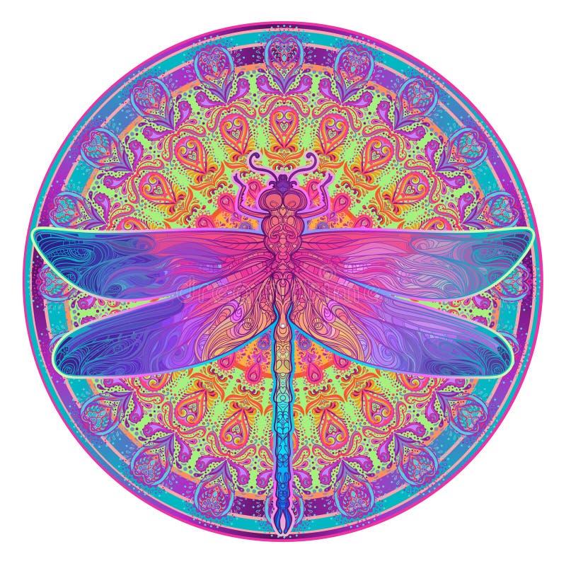 Libellule fleurie au-dessus de modèle rond coloré de mandala Tapotement ethnique illustration libre de droits