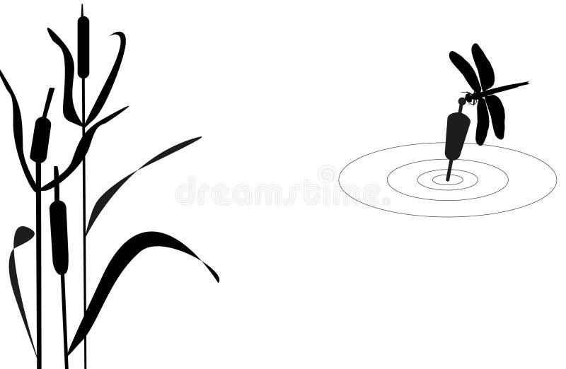 Libellule se reposant sur le flotteur illustration de vecteur
