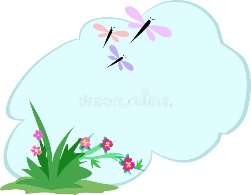 Libellules et fleurs avec la bulle des textes illustration de vecteur