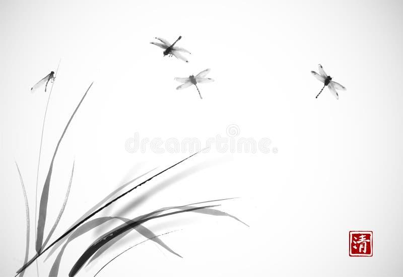 Libellules volant au-dessus de l'herbe Sumi-e oriental traditionnel de peinture d'encre, u-péché, aller-hua Hiéroglyphe - clarté illustration stock