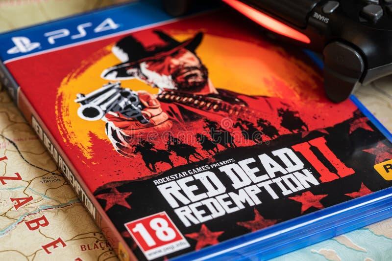 Liberação em outubro 26,2018 do jogo de Red Dead Redemption 2 fotos de stock royalty free