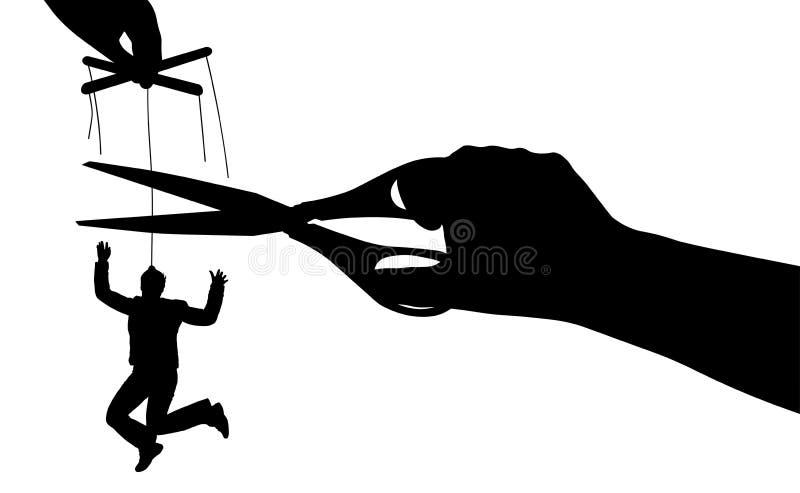 Libera da manipolazioni Puppet Manipolazione umana Esenzione dalla schiavitù Illustrazione vettoriale silhouette illustrazione vettoriale