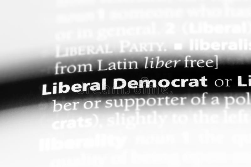 Liberal democrat. Word in a dictionary.  concept stock image