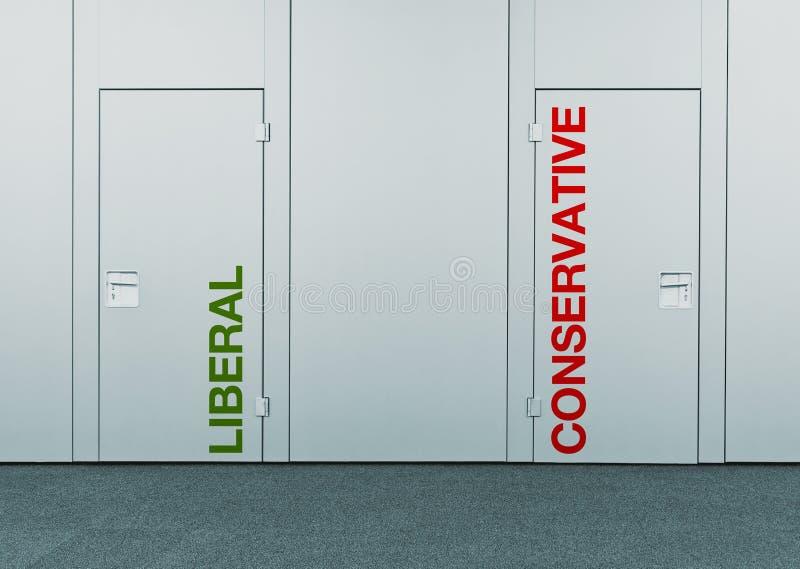 Liberal oder konservativ, Konzept der Wahl lizenzfreie stockfotos