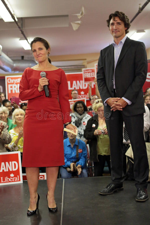 Liberal Party leader Justin Trudeau with Chrystia Freeland stock images