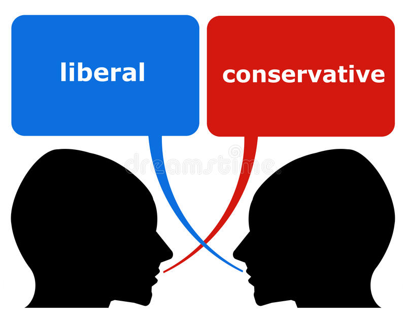 Liberal versus conservative. Differences in political viewpoint between liberals and conservatives stock illustration