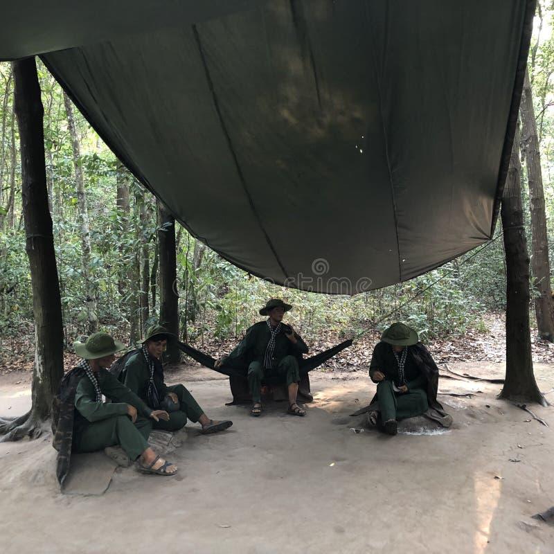 Liberaler Bereich in Cuchi, zum der Invasion von US-Truppen zu verhindern lizenzfreies stockbild
