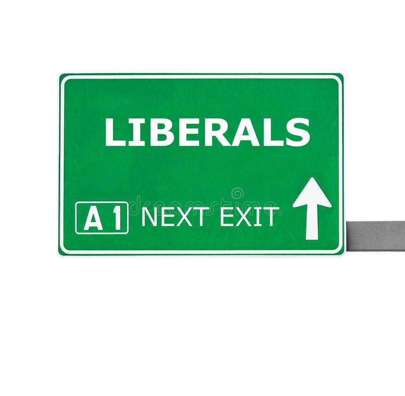 LIBERALS road sign isolated on white royalty free stock photos