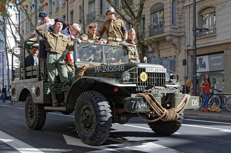 Liberation of Lyon ceremony in the streets royalty free stock photography