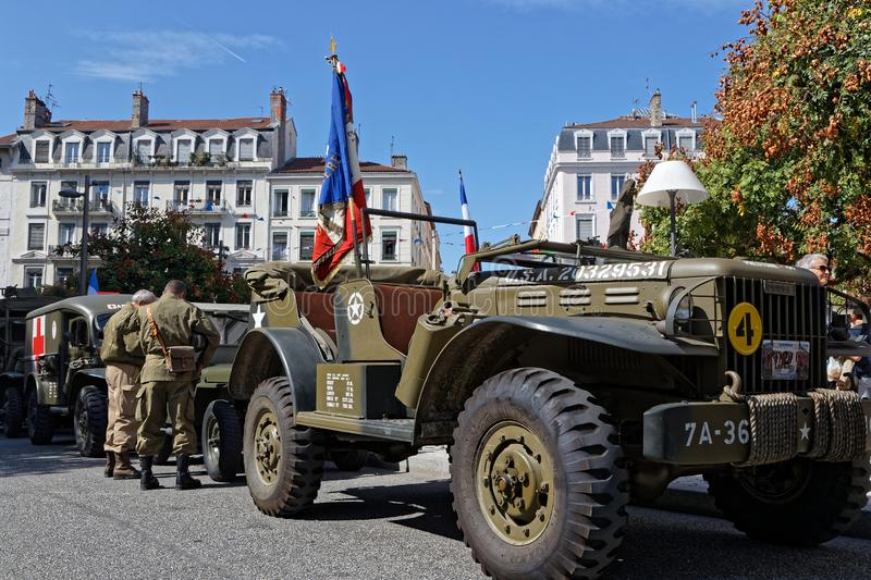 Liberation of Lyon ceremony trucks stock photo