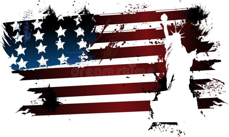 Liberdade americana da bandeira do grunge ilustração do vetor