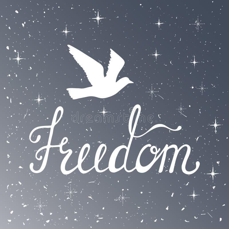 Liberdade Citações inspiradas Frase moderna da caligrafia com pássaro da silhueta Teste padrão do céu noturno ilustração royalty free