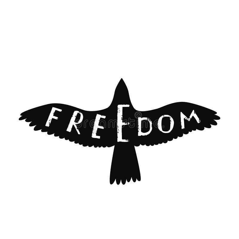 Liberdade Citações inspiradas sobre a liberdade no pássaro de voo da forma ilustração stock