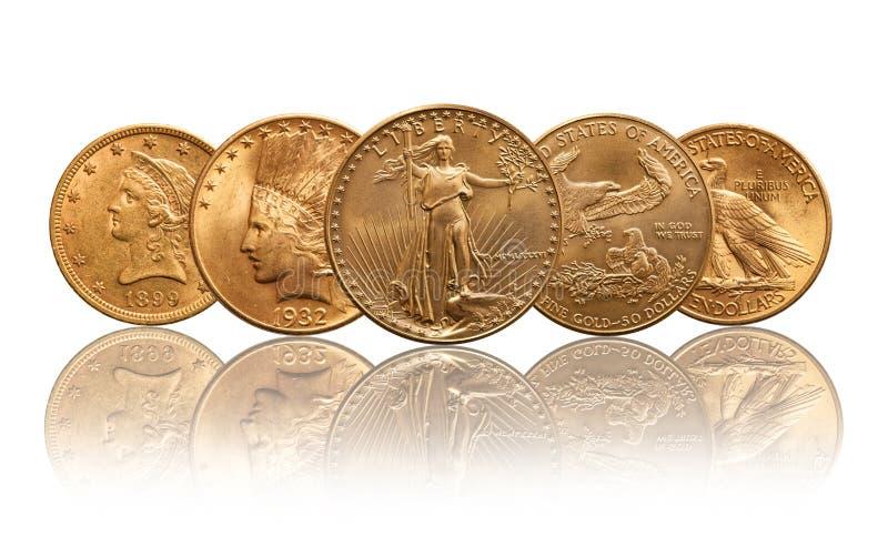Liberdade das moedas de ouro de Estados Unidos, cabeça indiana, águia imagem de stock