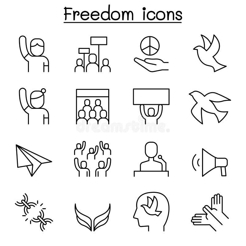 Liberdade, paz, protesto, grupo do ícone da demonstração na linha estilo fina ilustração royalty free