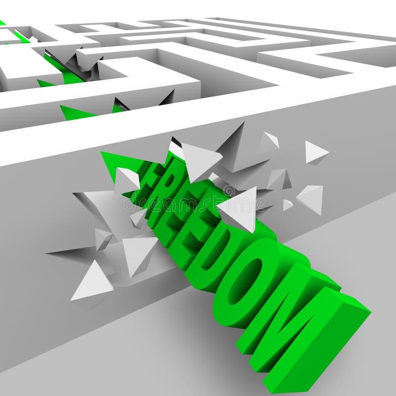 Liberdade - rupturas verdes da palavra através das paredes do labirinto ilustração do vetor