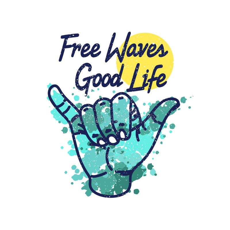 Libere la buena vida de las ondas Vector el ejemplo de una muestra con el popular para practicar surf, salpicando el agua y el so stock de ilustración
