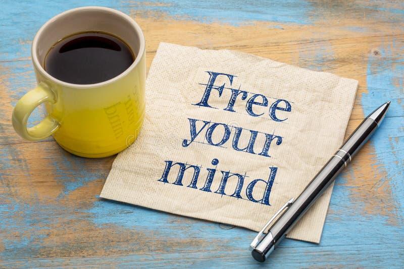 Libere su recordatorio de la mente en servilleta imagen de archivo libre de regalías