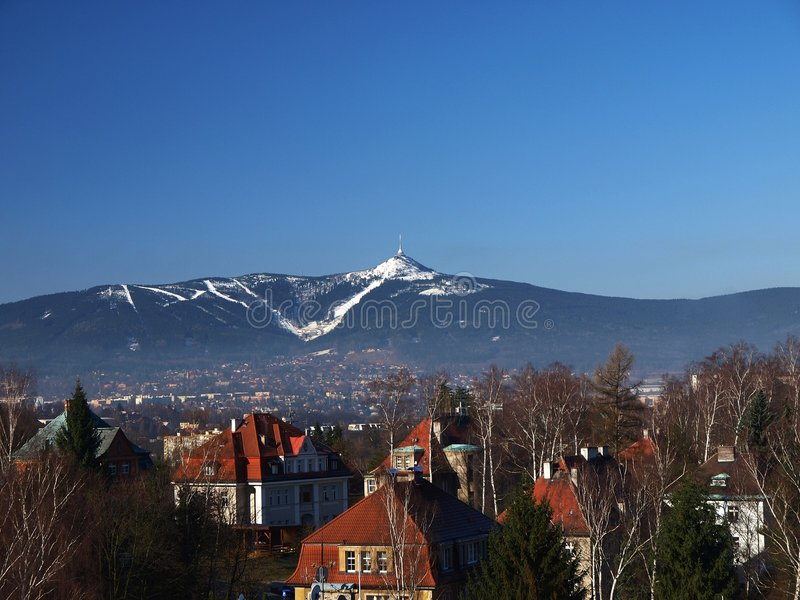 Liberec with Jested mountain (Czech) royalty free stock photos