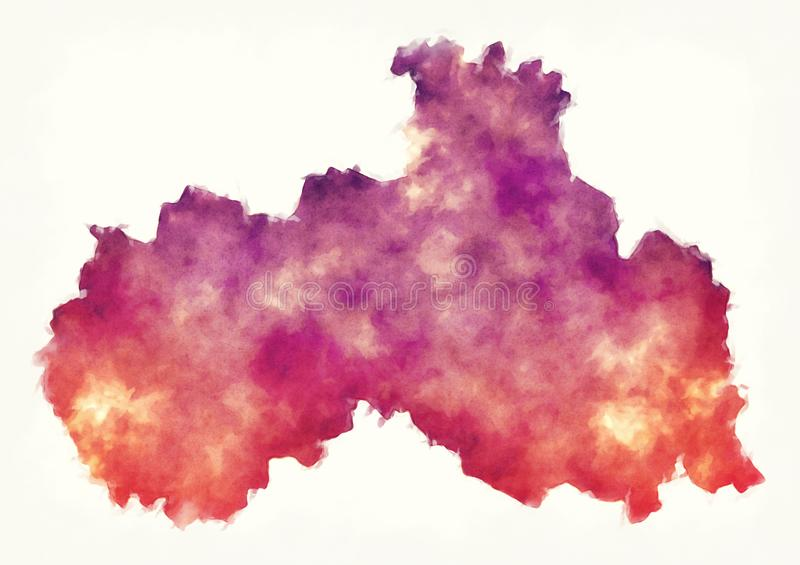 Liberec region watercolor map of Czech Republic in front of a white background stock image