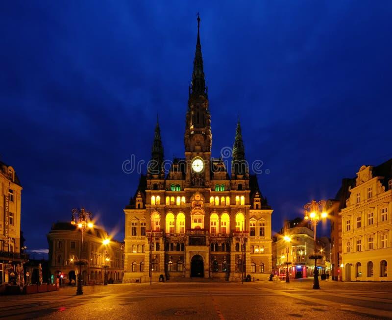 Liberec townhall noc zdjęcie stock