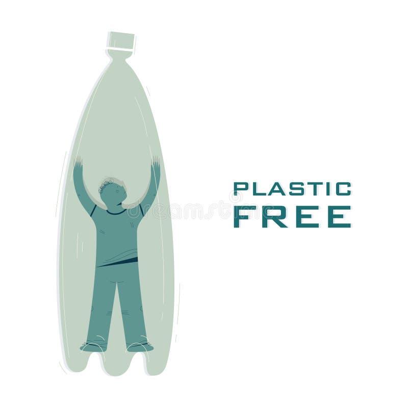 Liberi di plastica, spreco riciclano il modello dell'insegna di vettore royalty illustrazione gratis