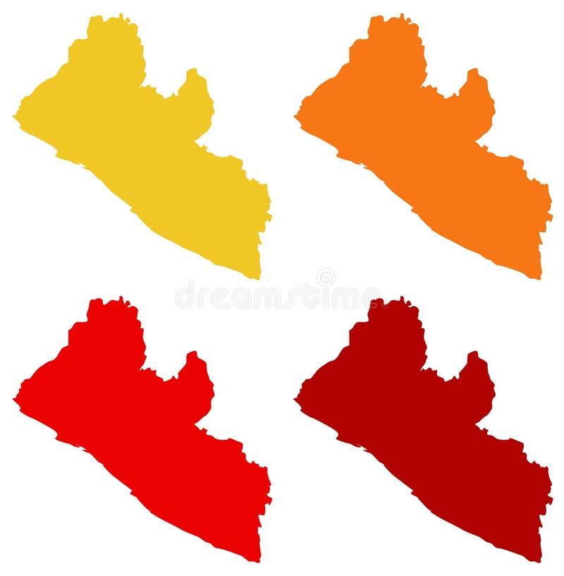 Liberia översikt - land på det västra - afrikansk kust vektor illustrationer