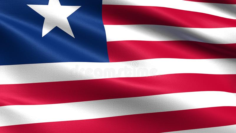 Liberia flag, with waving fabric texture royalty free illustration