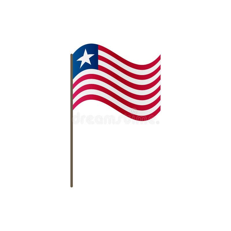 Liberia flagga på flaggstången Representantfärger och proportion korrekt Att vinka av den Liberia flaggan på flaggstång, vektoril royaltyfri illustrationer