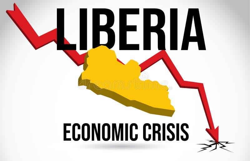 Liberia Map Financial Crisis Economic Collapse Market Crash Global Meltdown Vector. Illustration stock illustration