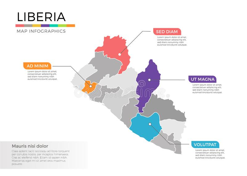 Liberia map infographics vector template with regions and pointer marks. Liberia map info-graphics vector template with regions, districts, state, country vector illustration
