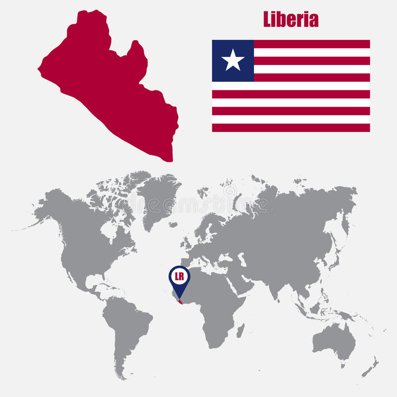 Liberia map on a world map with flag and map pointer vector download liberia map on a world map with flag and map pointer vector illustration stock gumiabroncs Choice Image