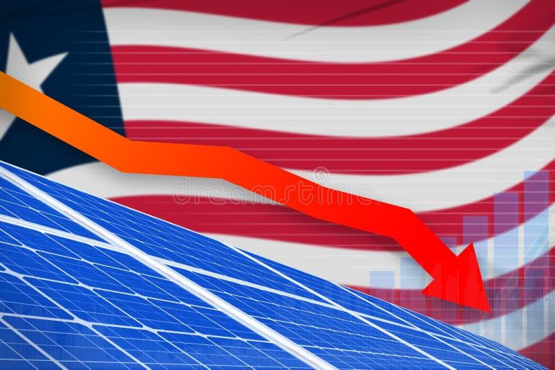 Liberia-Solarenergieenergie, die Diagramm, Pfeil hinunter - alternative industrielle Illustration der natürlichen Energie senkt A lizenzfreie abbildung