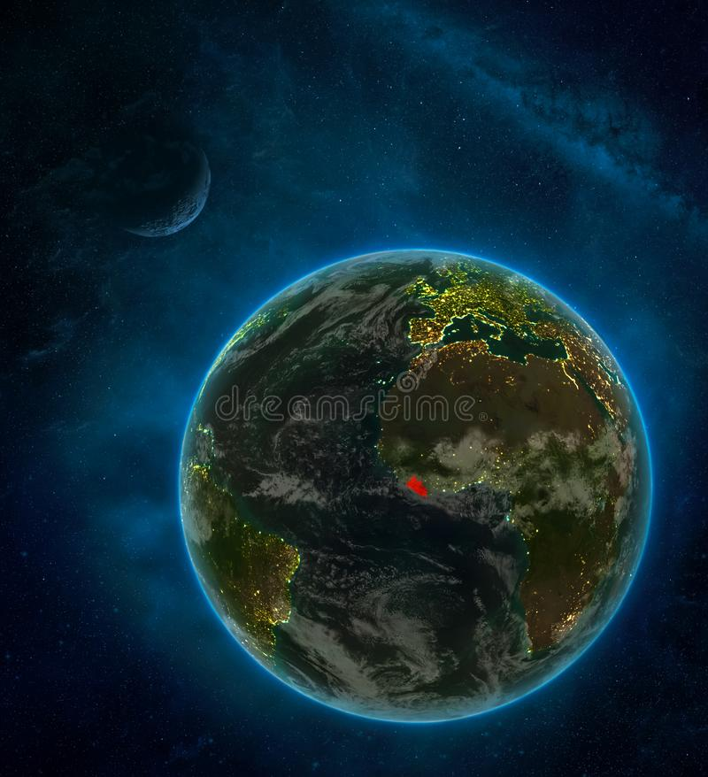 Liberia from space on Earth at night surrounded by space with Moon and Milky Way. Detailed planet with city lights and clouds. 3D. Illustration. Elements of royalty free illustration
