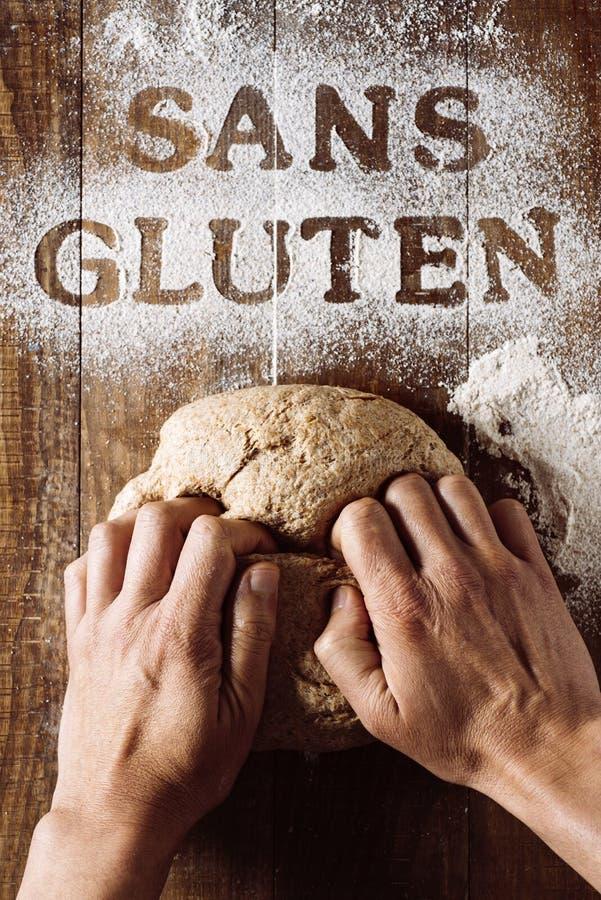 Libero del glutine del testo scritto in francese immagine stock