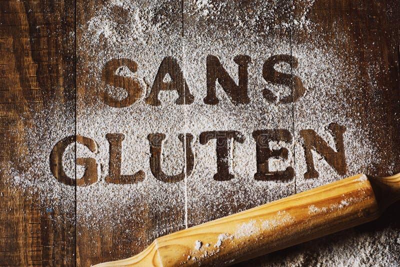 Libero del glutine del testo scritto in francese immagine stock libera da diritti