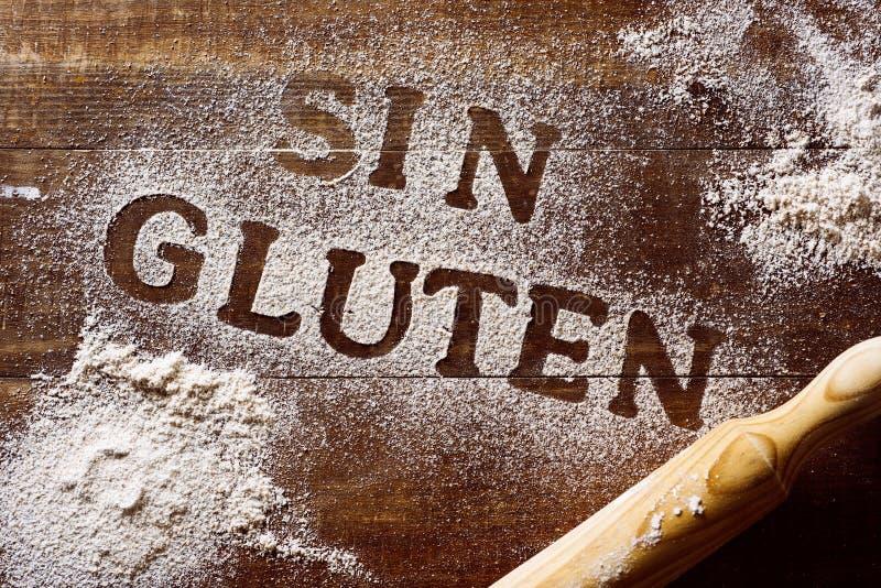Libero del glutine del testo scritto nello Spagnolo immagine stock libera da diritti